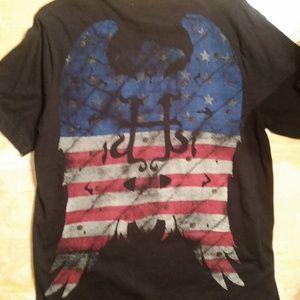 Helix Shirts - Helix Patriotic Cross & Angel Wing Graphic Tee
